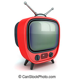 """Old red TV - Symbol """"TV"""" on a white background (done in3d)"""