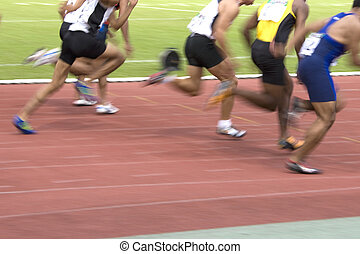 Men's 100 Meters Sprint (Blurred) - Image of the men's 100...