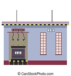 Electric transformer 2D building info graphic. High-voltage...