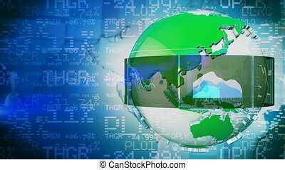 Stock market concept - Globe and graphs blue stock market...