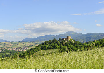 Typical castle in Marche near Camerino Italy