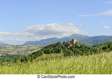 Typical castle in Marche near Camerino Italy