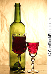 Wineglass on table eight - Glass and bottle wine on wooden...
