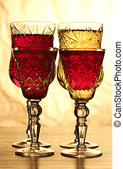 Wineglass on table four - Glass and bottle wine on wooden...