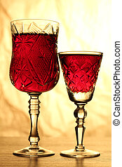 Wineglass on table nine - Glass and bottle wine on wooden...