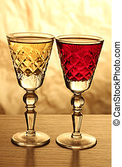 Wineglass on table six - Glass and bottle wine on wooden...