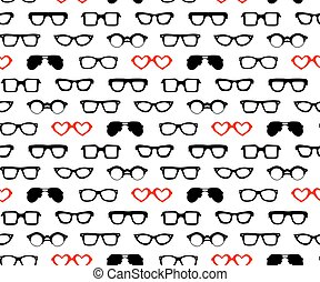 Vector seamless pattern with different shapes glasses.