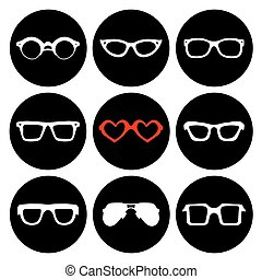 Vector set of icons of different shapes glasses in trendy flat style.