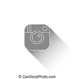 Vector hipster camera icon with long shadow effect in flat style.