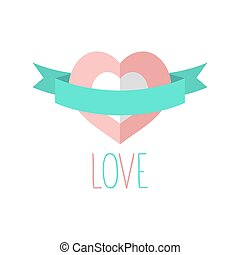 Vector heart icon with ribbon and text love in flat style, used for valentine card, wedding invitation or web design