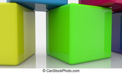 Moving toy cubes in various colors