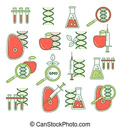 GMO set of icons. Thin line colorful DNA mutation, influence...