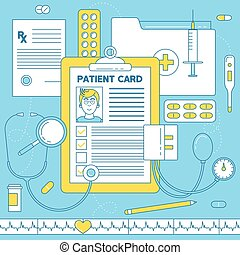 Patient card, medical illustration. Prescription, medical...