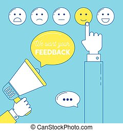 Feedback emoticon scale. We need your feedback illustration...