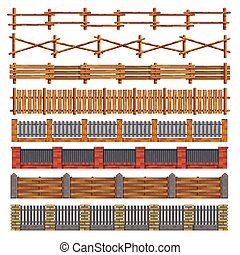 Different seamless wood and brick fences. Vector. -...