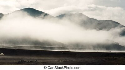 Dry And Very Foggy Riverbed Of Embalse De Riano, Spain
