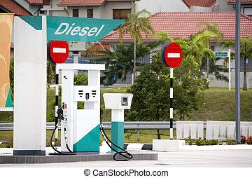 Diesel Pump - Image of a diesel pump at a gas station.