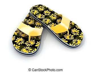 flip-flops on white background (done in 3d)
