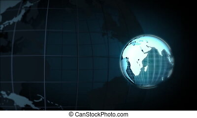 Blue Frame Globe - Computer-rendered animation for geograhy...