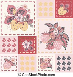 Patchwork background with strawberries and raspberries. Seamless vector pattern.