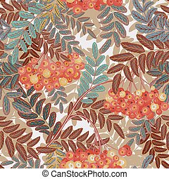 Seamless pattern with leaves and ash-berry rowanberry. Vector illustration