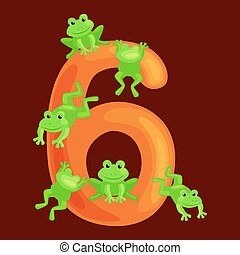 ordinal numbers six for teaching children counting 6 frogs...