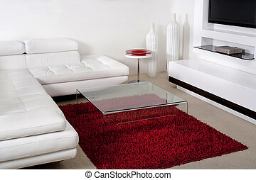 Leather couch in modern living room