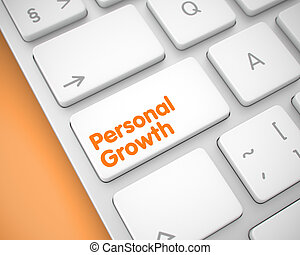 Personal Growth - Message on White Keyboard Key. 3D. -...