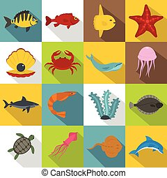 Sea animals icons set, flat style