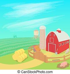 Farm landscape concept, cartoon style - Farm landscape...