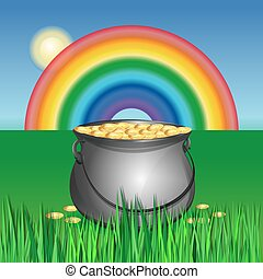 Magic pot with leprechaun gold coins for St. Patricks Day