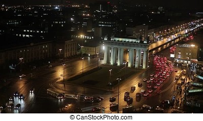 City at night, square and road traffic jams timelapse