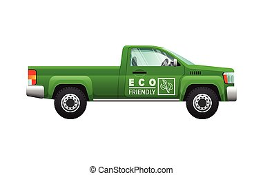 Transport. Isolated Classic Green Car. Eco Pickup -...