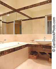 bathroom with big mirror