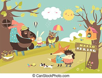 Cute animals walking in spring forest