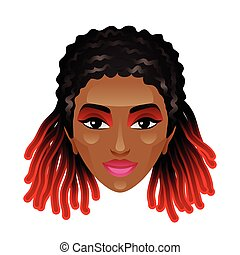 African woman with dreadlocks isolated on white vector...