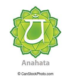 Chakra anahata isolated on white vector illustration
