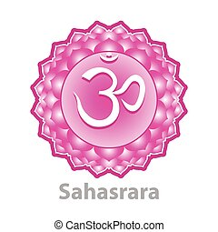 Chakra sahasrara isolated on white vector illustration