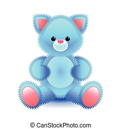 Cute blue cat soft toy isolated on white vector illustration