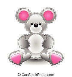 Cute gray mouse soft toy isolated on white vector...