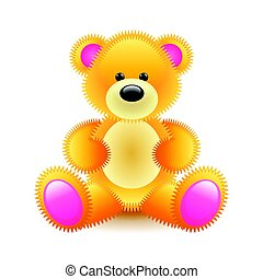 Cute orange bear soft toy isolated on white vector...