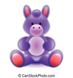 Cute purple horse soft toy isolated on white vector...