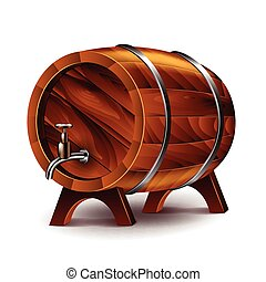 Wine barrel isolated on white vector - Wine barrel isolated...