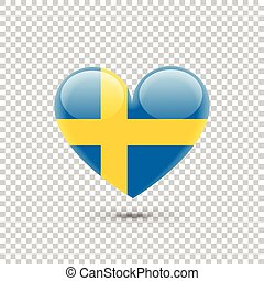 Swedish Flag Heart Icon on Transparent Background. Vector...