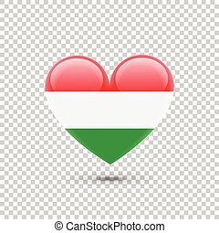Hungarian Flag Heart Icon on Transparent Background. Vector...