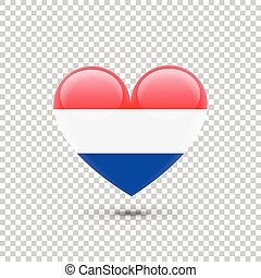 Dutch Flag Heart Icon on Transparent Background. Vector...