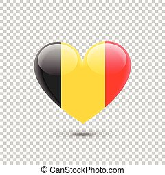 Belgium Flag Heart Icon on Transparent Background. Vector...