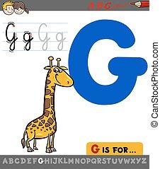 letter g with cartoon giraffe
