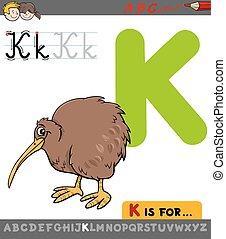 letter k with cartoon kiwi bird - Educational Cartoon...