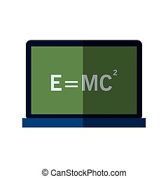 einstein's formula icon - computer with einstein's formula...